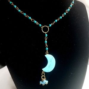 Turquoise Crescent Moon Y Necklace